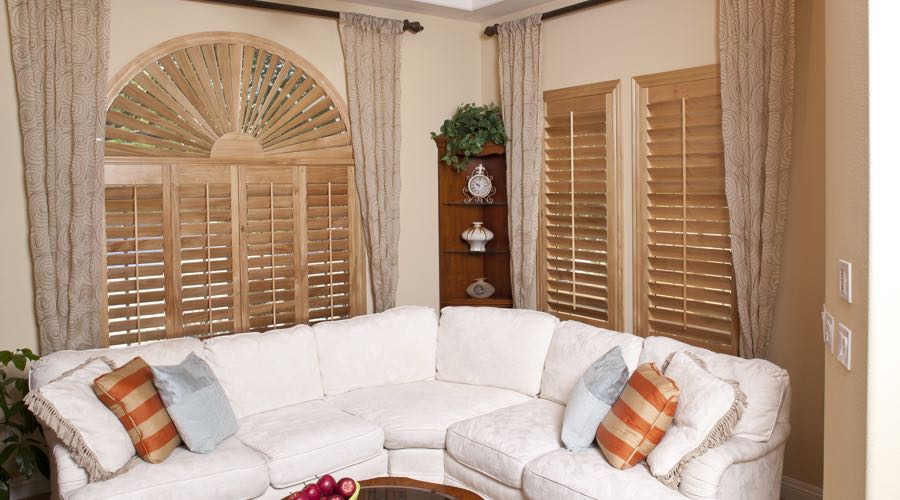 Arched Ovation Wood Shutters In Houston Living Room