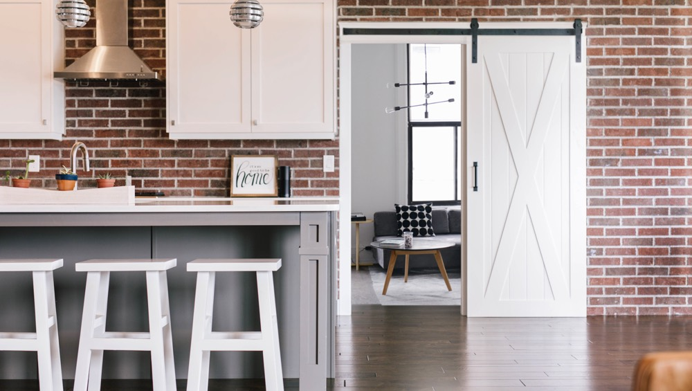Houston exposed brick barn door