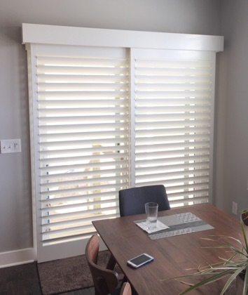 Houston white sliding door shutters