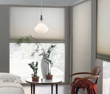 honeycomb shades in Houston house
