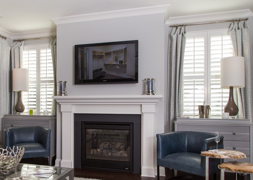living room Houston faux wood shutters