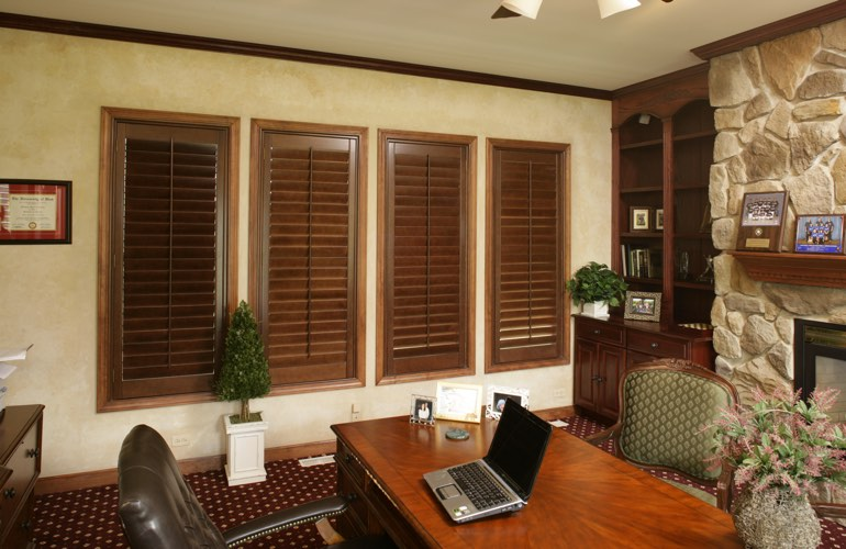 Hardwood plantation shutters in a Houston home office