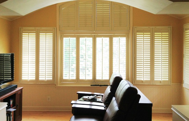 Houston plantation shutters in home theater