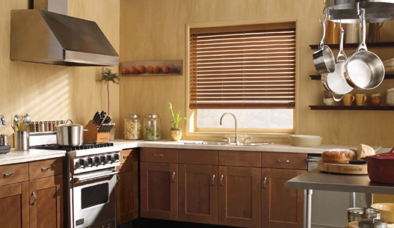 TX faux wood blinds kitchen