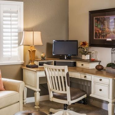 Houston home office plantation shutters.