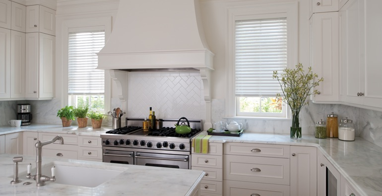 Houston kitchen white blinds