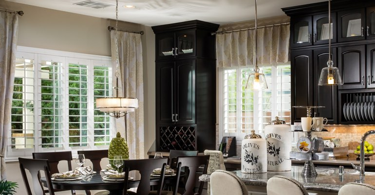 Houston kitchen dining room with plantation shutters.