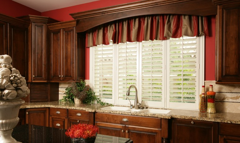 Houston kitchen shutter and cornice valance