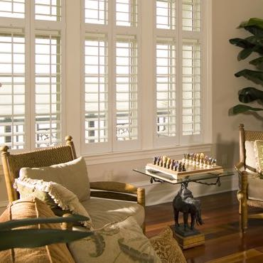 Houston living room plantation shutters.