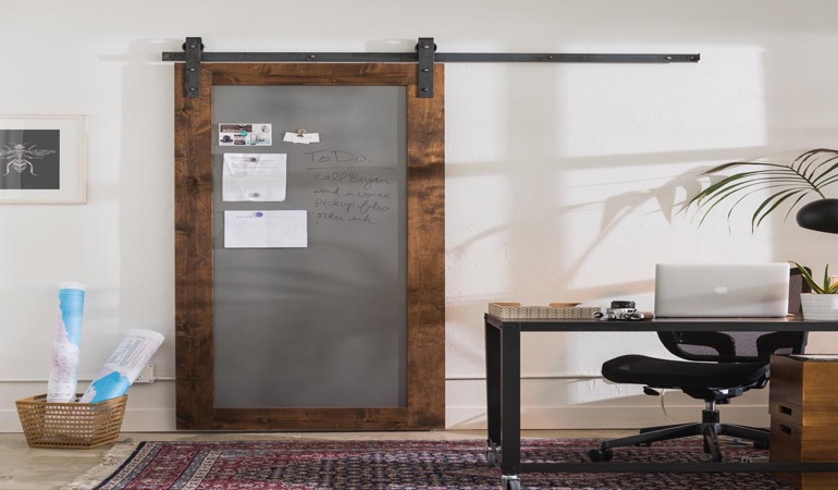 Houston home office barn door