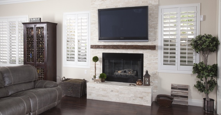 interior shutters in Houston living room