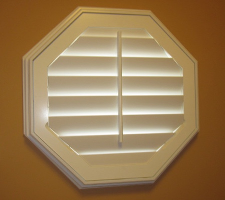 Houston octagon window with white shutter