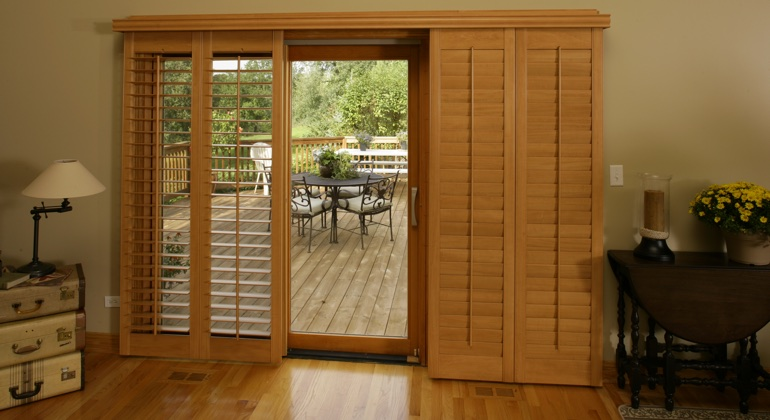 Houston wood shutter sliding door