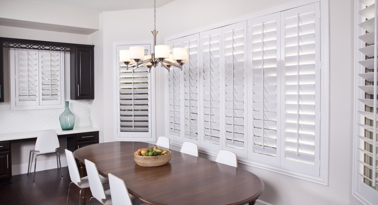 plantation shutters in Houston dining room