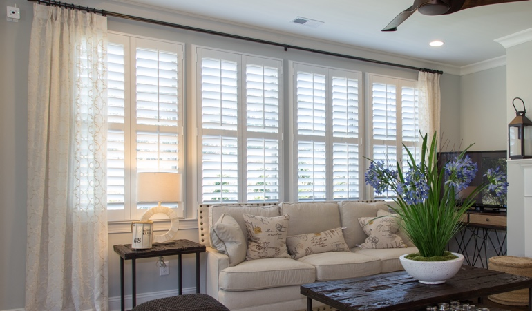 Plantation Shutters in Houston Living Room