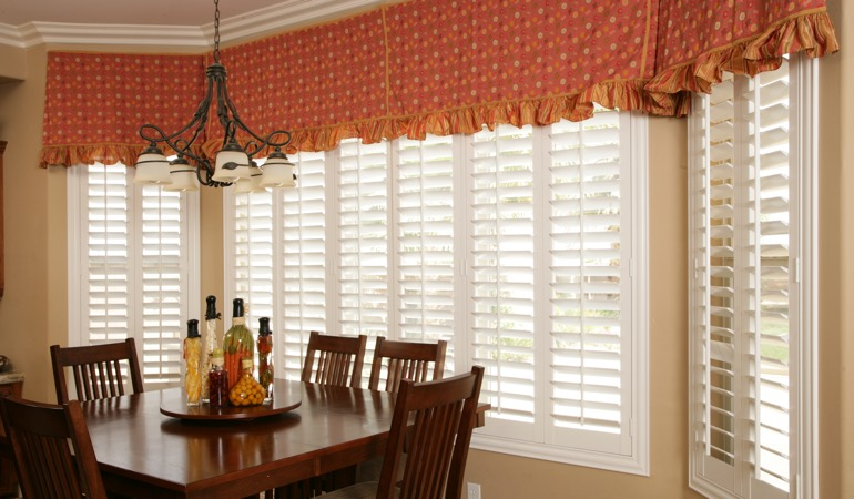 White shutters in Houston dining room.