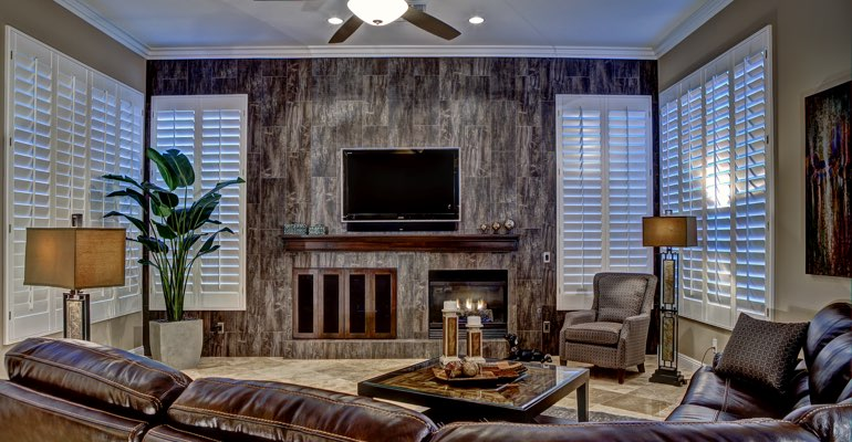 Houston living room with shutters