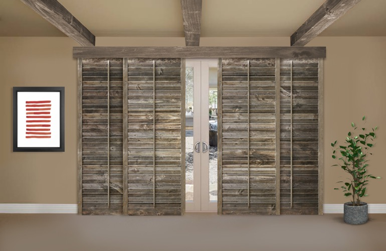 Reclaimed Wood Shutters On A Sliding Glass Door In Houston & Reclaimed Wood Shutters For Sale | Sunburst Shutters Houston TX Pezcame.Com
