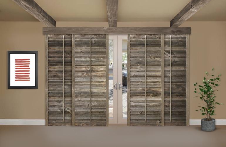 Reclaimed Wood Shutters On A Sliding Glass Door In Houston - Reclaimed Wood Shutters For Sale Sunburst Shutters Houston, TX