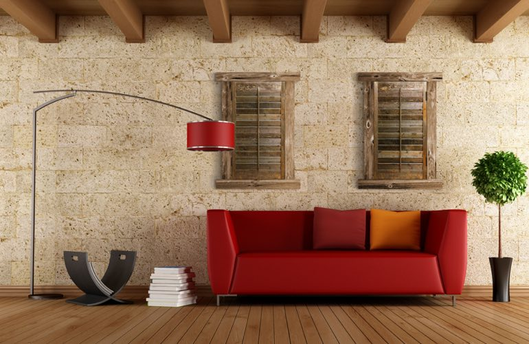 Reclaimed Wood Shutters In A Houston Living Room. - Reclaimed Wood Shutters For Sale Sunburst Shutters Houston, TX