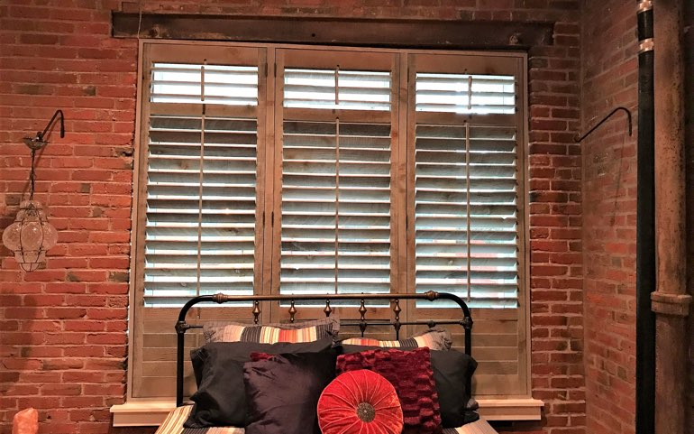 repurposed wood shutters in Houston bedroom - Reclaimed Wood Shutters For Sale Sunburst Shutters Houston, TX