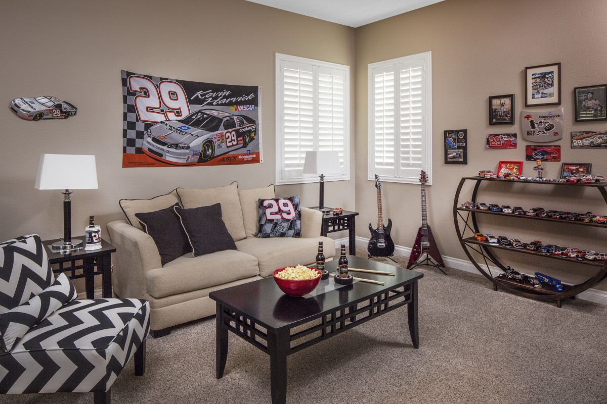 Houston man cave with shutters