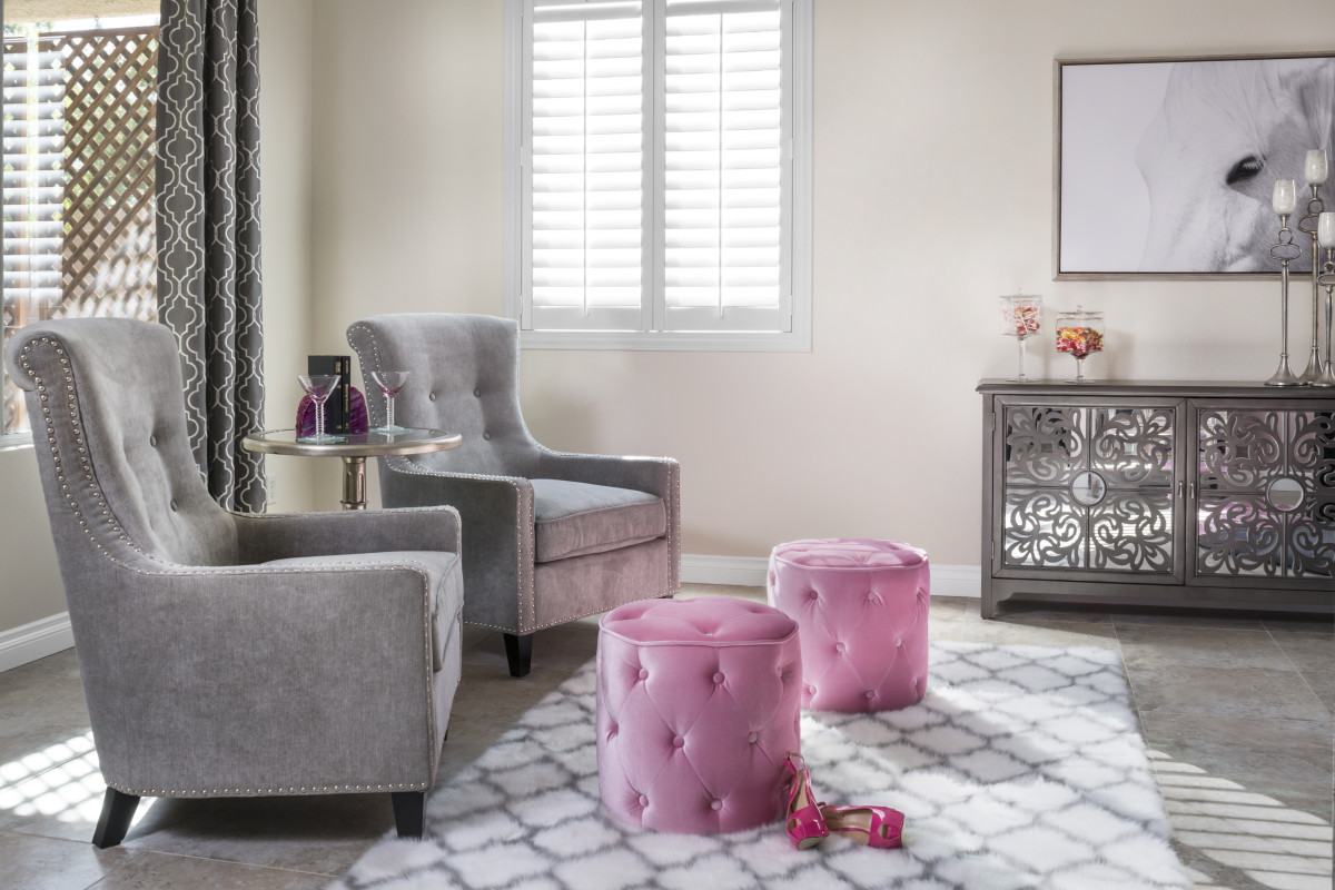 Houston pink living room with shutters