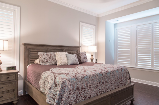 Houston bedroom with light block shutters