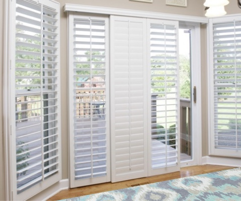 [Polywood|Plantation|Interior ]211] shutters on a sliding glass door in Houston