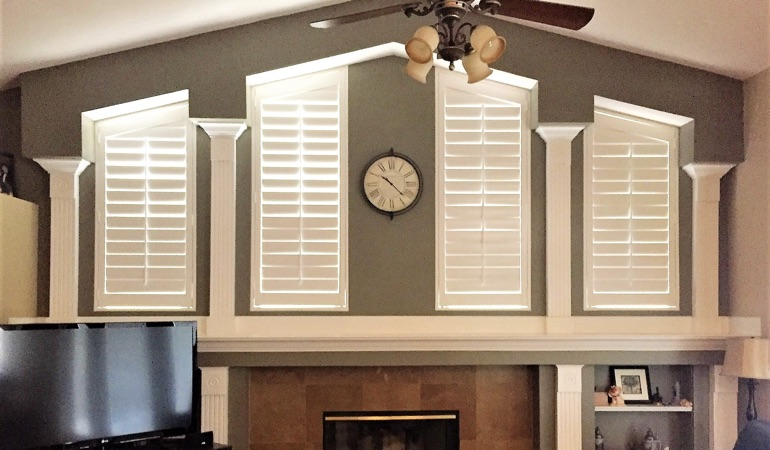 Polywood Shutters in Family Room in Houston