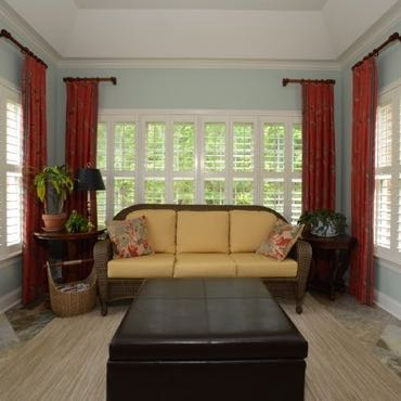 Houston sunroom plantation shutters.