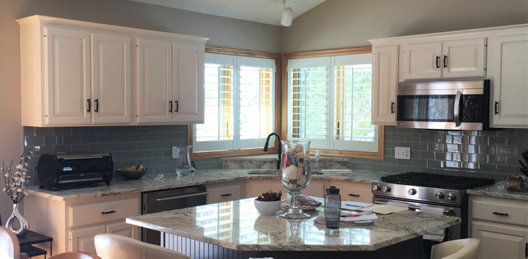 Houston kitchen with shutters and appliances