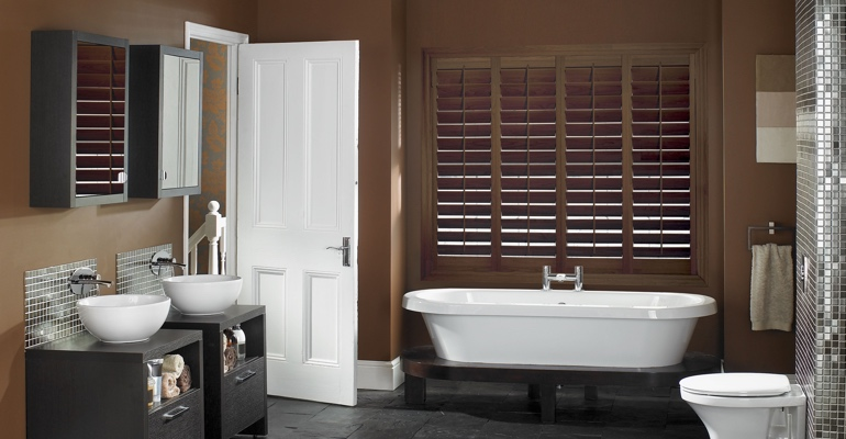 Houston bathroom shutters wood stain