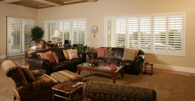 Houston basement with polywood shutters.