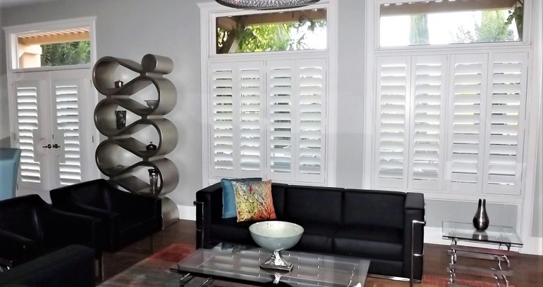 Houston DIY shutters in living room.