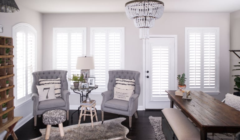 Plantation shutters in a Houston living room