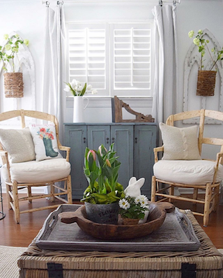 White shutters in bright room.