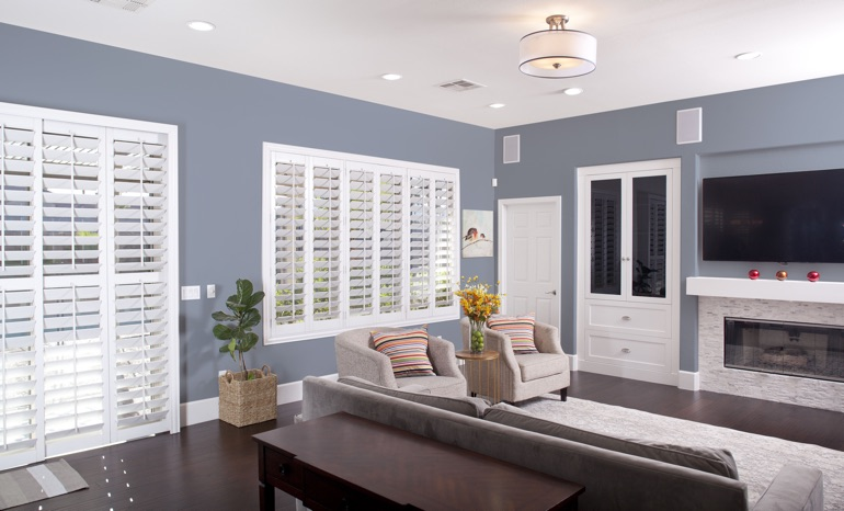 Plantation Shutters In A Houston Living Room.