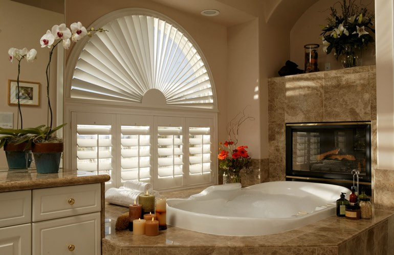 Our Specialists Installed Shutters On A Sunburst Arch Window In Houston, TX